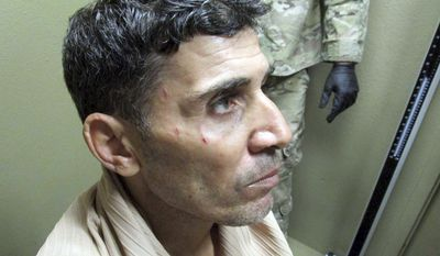 This image provided by the FBI in a U.S. District Court filing in Washington on feb. 29, 2019, shows Mustafa al-Imam after his capture in October 2017. The interrogation of the Libyan militant accused of playing an instrumental role in the 2012 Benghazi attacks may be admitted at his trial next month, a federal judge ruled April 8, 2019. U.S. District Judge Christopher R. Cooper rejected defense attorneys claims that al-Imam had been suffering from mental trauma and seasickness in the days after his 2017 abduction in Libya. Al-Imam is scheduled to stand trial in May 2019 in Washington on murder and terrorism charges. (FBI via AP)