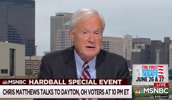 MSNBC's Chris Matthews discusses the 2020 presidential election field, June 17, 2019. (Image: MSNBC screenshot)