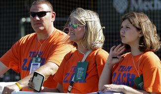 From left to right, Chris, Lisa, and Ariana Kukec watch the Oakland Athletics during batting practice prior to a baseball game against the Baltimore Orioles, Monday, June 17, 2019, in Oakland, Calif. (AP Photo/Ben Margot)