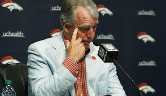 Joe Ellis, president and chief executive officer of the Denver Broncos, talks about the death of team owner Pat Bowlen during a news conference Monday, June 17, 2019, at the NFL football team's headquarters in Englewood, Colo. (AP Photo/David Zalubowski)