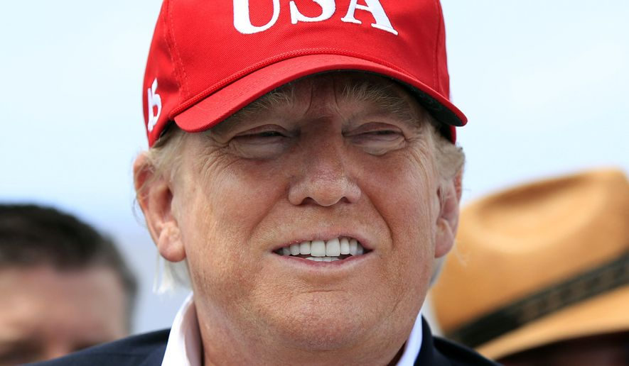 In this March 29, 2019, file photo, President Donald Trump speaks to reporters during a visit to Lake Okeechobee and Herbert Hoover Dike at Canal Point, Fla. (AP Photo/Manuel Balce Ceneta) ** FILE **