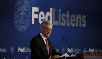 FILE - In this June 4, 2019, file photo Federal Reserve Chairman Jerome Powell speaks at a conference involving its review of its interest-rate policy strategy and communications in Chicago. On Wednesday, June 19, the Federal Reserve releases its latest monetary policy statement and updated economic projections. (AP Photo/Kiichiro Sato, File)