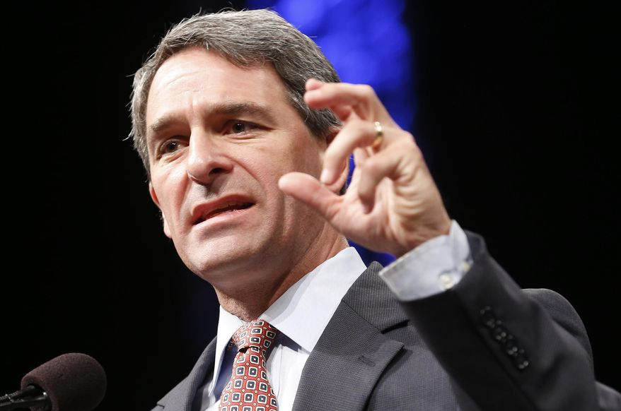 In this Saturday, June 7, 2014, file photo, former Virginia Attorney General Ken Cuccinelli addresses the Virginia GOP Convention in Roanoke, Va. (AP Photo/Steve Helber, File) ** FILE **
