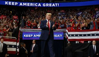 President Donald Trump arrives to speak at his reelection kickoff rally at the Amway Center, Tuesday, June 18, 2019, in Orlando, Fla. (AP Photo/Evan Vucci)