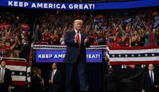 President Donald Trump arrives to speak at his re-election kickoff rally at the Amway Center, Tuesday, June 18, 2019, in Orlando, Fla. (AP Photo/Evan Vucci)