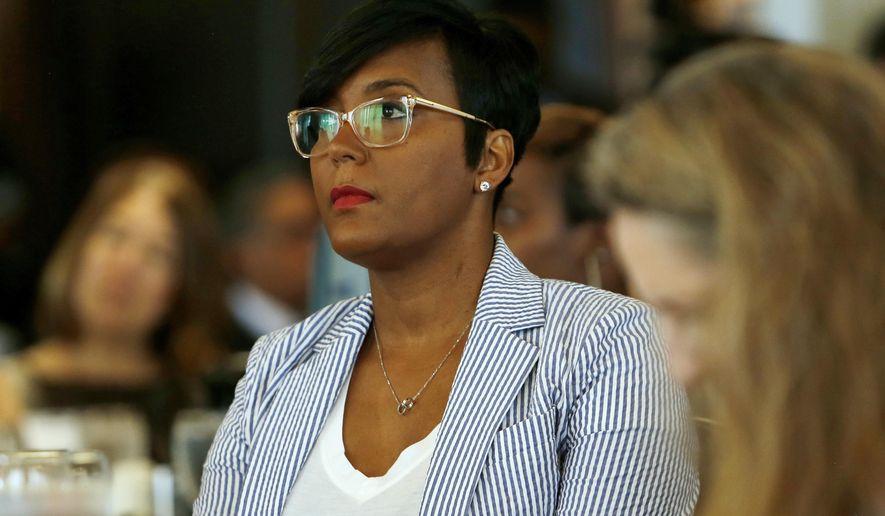 Atlanta Mayor Keisha Lance Bottoms waits to speak at the Atlanta Press Club luncheon, Tuesday, June 18, 2019, in Atlanta. (AP Photo/Andrea Smith)