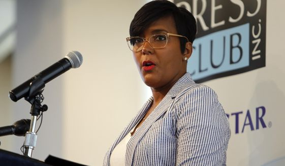 Atlanta Mayor Keisha Lance Bottoms speaks at the Atlanta Press Club about improving the city's reputation, Tuesday, June 18, 2019, in Atlanta. (AP Photo/Andrea Smith)