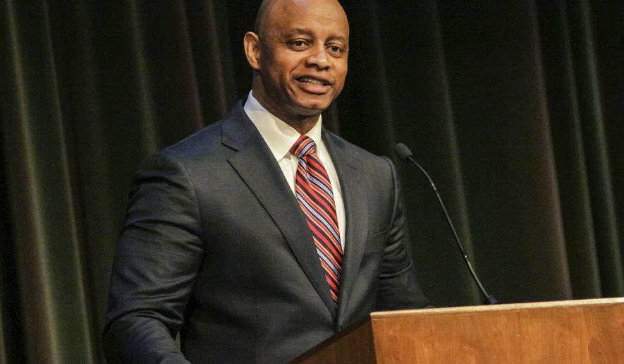 In this Feb. 6, 2017 photo, Eric Mansfield, the founder of Cape Fear Otolaryngology speaks at Methodist University in Fayetteville, N.C., as it holds its Spring Convocation. Mansfield announced Tuesday, June 18, 2019, he is seeking the Democratic nomination for the United States Senate in 2020.   (Raul F. Rubiera/The Fayetteville Observer via AP)