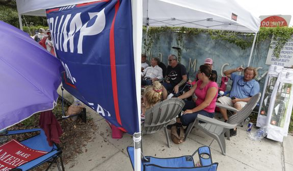 Supporters of President Donald Trump, some that lined up in the early hours Monday, June 17, 2019, in Orlando, Fla, wait more than 24 hours before the doors to the Amway Center open for a rally. (AP Photo/John Raoux)