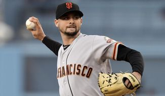 San Francisco Giants starting pitcher Tyler Beede throws to the plate during the first inning of a baseball game against the Los Angeles Dodgers, Monday, June 17, 2019, in Los Angeles. (AP Photo/Mark J. Terrill)