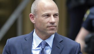 FILE - In this May 28, 2019, file photo, California attorney Michael Avenatti leaves a courthouse in New York following a hearing. Avenatti faces a November trial date on charges he tried to extort millions of dollars from Nike. The Nov. 12, trial date was set Tuesday, June 18 2019, by U.S. District Judge Paul Gardephe at a pretrial hearing. (AP Photo/Seth Wenig, File)