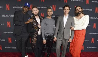 "In this May 16, 2019 file photo, Karamo Brown, from left, Bobby Berk, Tan France, Antoni Porowski and Jonathan Van Ness arrive at a For Your Consideration event for ""Queer Eye"" at Raleigh Studios in Los Angeles. Netflix's show ""Queer Eye"" says it's bringing fabulousness to the masses for two more seasons. The streaming service announced Tuesday, June 18, that season four will debut July 19. (Photo by Chris Pizzello/Invision/AP, File)"