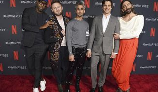 """FILE - In this May 16, 2019 file photo, Karamo Brown, from left, Bobby Berk, Tan France, Antoni Porowski and Jonathan Van Ness arrive at a For Your Consideration event for """"Queer Eye"""" at Raleigh Studios in Los Angeles. Netflix's show """"Queer Eye"""" says it's bringing fabulousness to the masses for two more seasons. The streaming service announced Tuesday, June 18, that season four will debut July 19. (Photo by Chris Pizzello/Invision/AP, File)"""