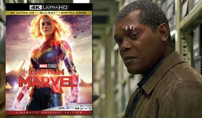 """A younger Nicholas Fury (Samuel L. Jackson) learns the truth about Carol Danvers in """"Captain Marvel: Cinematic Universe Edition,"""" now available on 4K Ultra HD from Walt Disney Studios Home Entertainment."""