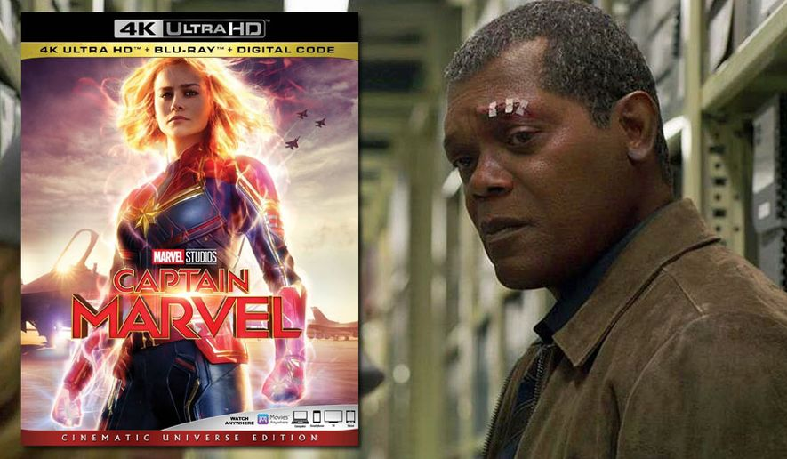 "A younger Nicholas Fury (Samuel L. Jackson) learns the truth about Carol Danvers in ""Captain Marvel: Cinematic Universe Edition,"" now available on 4K Ultra HD from Walt Disney Studios Home Entertainment."