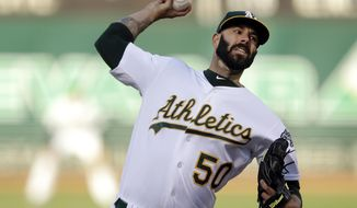 Oakland Athletics pitcher Mike Fiers works against the Baltimore Orioles in the first inning of a baseball game Monday, June 17, 2019, in Oakland, Calif. (AP Photo/Ben Margot)