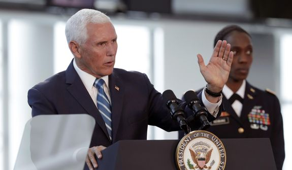 Vice President Mike Pence speaks following a tour on the USNS Comfort, Tuesday, June 18, 2019, in Miami. The hospital ship is scheduled to embark on a five-month medical assistance mission to Latin America and the Caribbean, including several countries struggling to absorb migrants from crisis-wracked Venezuela. (AP Photo/Lynne Sladky)