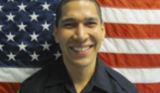 In this 2014 photo made available by the North Miami Police Dept., Fla. shows Officer Jonathan Aledda. A jury deliberated for four hours late Monday, June 18, 2019,  before finding  Aledda guilty of culpable negligence in the 2016 shooting of caretaker Charles Kinsey, who was trying to protect 27-year-old Arnaldo Rios Soto. Aledda faces up to a year in jail but because he was acquitted of a felony, he might be able to remain a police officer.(North Miami Police Dept. via AP)