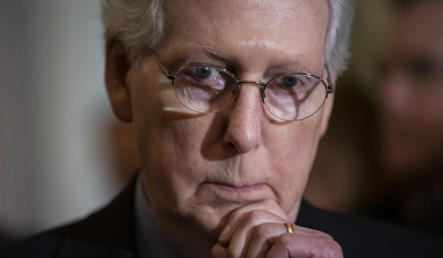 Senate Majority Leader Mitch McConnell, R-Ky., pauses as he speaks to reporters following a weekly GOP policy conference, at the Capitol in Washington, Tuesday, June 11, 2019. (AP Photo/J. Scott Applewhite)