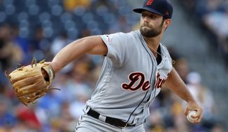 Detroit Tigers starting pitcher Daniel Norris delivers during the first inning of a baseball game against the Pittsburgh Pirates in Pittsburgh, Tuesday, June 18, 2019. (AP Photo/Gene J. Puskar)
