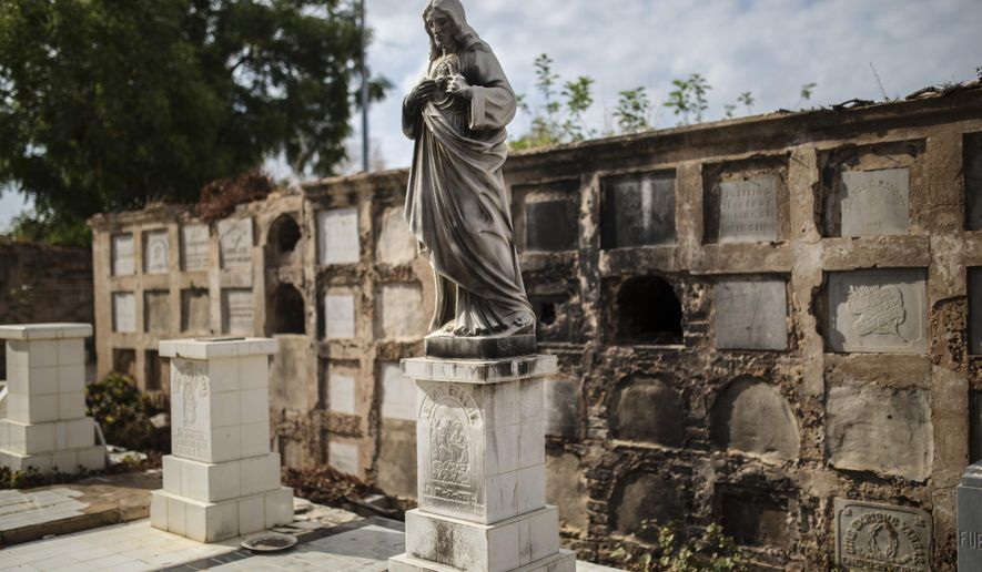 Pillaged vaults stand inside Cuadrado cemetery in Maracaibo, Venezuela, May 16, 2019. Thieves have broken into some of the vaults and coffins since late last year, stealing ornaments and sometimes items from corpses as the country sinks to new depths of deprivation. (AP Photo/Rodrigo Abd)