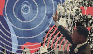 JFK and MLK Wiretap Illustration by Linas Garsys/The Washington Times