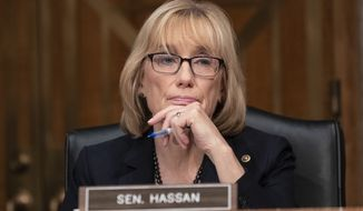 Sen. Maggie Hassan, D-N.H., listens during a hearing of the Senate Committee on Homeland Security & Governmental Affairs, on Capitol Hill, Wednesday, Oct. 10, 2018 in Washington. (AP Photo/Alex Brandon)