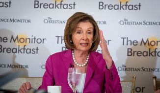 House Speaker Nancy Pelosi speaks with reporters at a breakfast briefing hosted by the Christian Science Monitor on Wednesday, June 19, 2019. (Michael Bonfigli/The Christian Science Monitor)