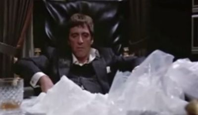 "Al Pacino stars in the 1983 film ""Scarface"" about a drug kingpin named Tony Montana. The film was dirercted by Brian De Palma and written by Oliver Stone. (Image: Universal Studios)"