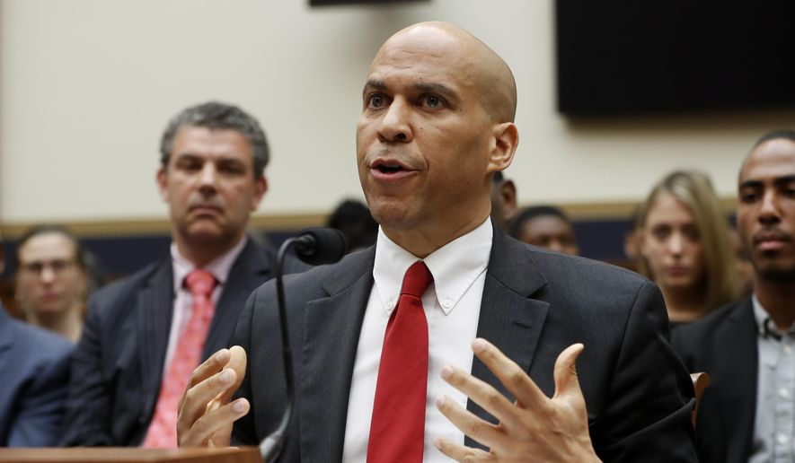 Democratic Presidential candidate Sen. Cory Booker, D-NJ, testifies about reparation for the descendants of slaves during a hearing before the House Judiciary Subcommittee on the Constitution, Civil Rights and Civil Liberties, at the Capitol in Washington, Wednesday, June 19, 2019. (AP Photo/Pablo Martinez Monsivais) ** FILE **