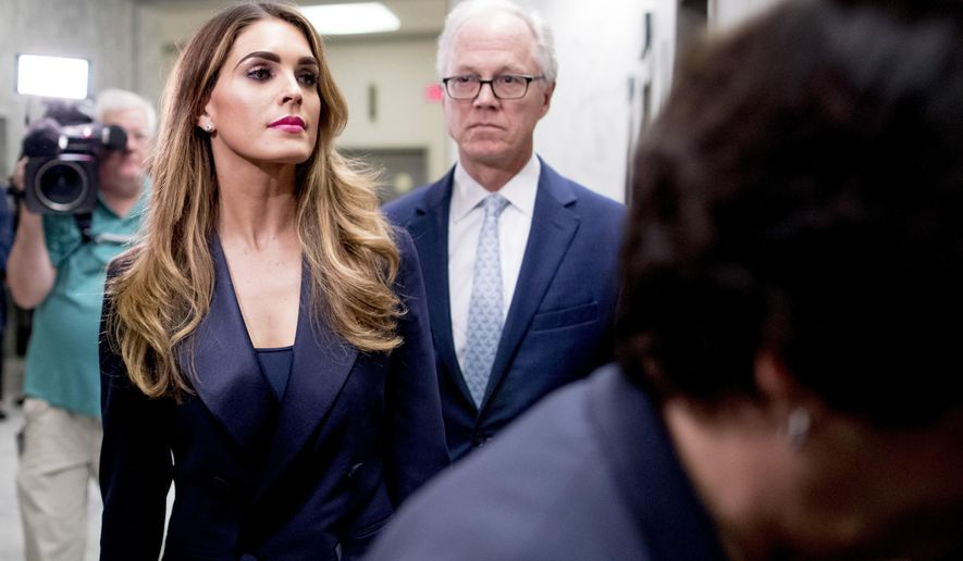 Former White House Communications Director Hope Hicks arrives for closed-door interview with the House Judiciary Committee on Capitol Hill in Washington, Wednesday, June 19, 2019. (AP Photo/Andrew Harnik)