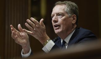 United States Trade Representative Robert Lighthizer testifies before the Senate Finance Committee on Capitol Hill in Washington, Tuesday, June 18, 2019, during a hearing hearing on 'The President's 2019 Trade Policy Agenda and the United States-Mexico-Canada Agreement'. (AP Photo/Susan Walsh)