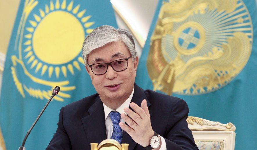 Kazakhstan's President-elect Kassym-Jomart Tokayev speaks to the media after presidential elections in Nur-Sultan, the capital city of Kazakhstan, on Monday June 10, 2019 . An ally of Kazakhstan's former president was named winner of the presidential election on Monday in a vote marred by a police crackdown on protesters who criticized the result as an orchestrated handover of power. (AP Photo/Alexei Filippov)