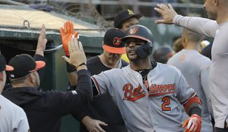 Baltimore Orioles' Jonathan Villar (2) is congratulated by teammates after hitting a solo home run against the Oakland Athletics during the fifth inning of a baseball game in Oakland, Calif., Tuesday, June 18, 2019. (AP Photo/Jeff Chiu) **FILE**