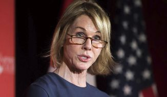 FILE - In this April 4, 2018 file photo, Kelly Knight Craft, U.S. Ambassador to Canada, speaks about NAFTA and Canada-US relations at an Empire Club meeting in Toronto. Craft is President Donald Trump's nominee to be the next U.S. envoy to the United Nations.   (Chris Donovan/The Canadian Press via AP)