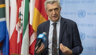 In this April 19, 2019, file photo provided by the United Nations, Filippo Grandi, the United Nations High Commissioner for Refugees, addresses the media at United Nations headquarters. The United Nations refugee agency says a record 71 million people have now been displaced worldwide from war, persecution and other violence. (Eskinder Debebe/The United Nations via AP)