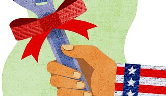 Government Gifting Jobs Illustration by Greg Groesch/The Washington Times