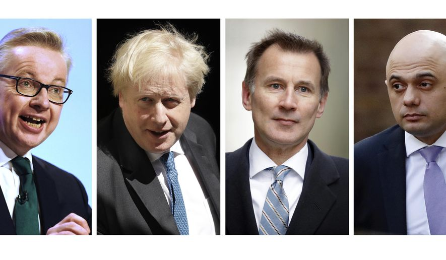 In this file four-photo combo image of various recent dates, showing the contenders still placed to become leader of the Conservative Party, Wednesday, June 19, 2019, with from left: Michael Gove, Boris Johnson, Jeremy Hunt, Sajid Javid. Rory Stewart has dropped out of the contest Wednesday. Britain's Conservative Party will continue to hold elimination votes until the final two contenders will be put to a vote of party members nationwide, with the winner due to replace Prime Minister Theresa May as party leader and prime minister. (AP FILE Photo combo)