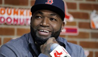 FILE - In this Sept. 30, 2016, file photo, Boston Red Sox's David Ortiz speaks during a news conference before a baseball game against the Toronto Blue Jays at Fenway Park, in Boston. Officials say Ortiz, who was shot in the Dominican Republic on June 9, 2019, at an outdoor cafe, was the victim of incompetent criminals who were trying to kill a man next to him. (AP Photo/Elise Amendola, File)
