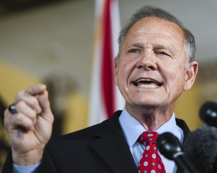 Former Alabama Chief Justice Roy Moore announces his run for the Republican nomination for U.S. Senate Thursday, June 20, 2019, in Montgomery, Ala. (AP Photo/Julie Bennett) ** FILE **