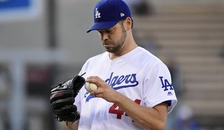 Los Angeles Dodgers' Rich Hill gets set to pitch during the first inning of the team's baseball game against the San Francisco Giants on Wednesday, June 19, 2019, in Los Angeles. (AP Photo/Mark J. Terrill)