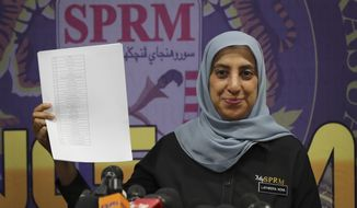 Latheefa Koya, the new chief of the Malaysian Anti-Corruption Commission, shows a list of names during a press conference in Putrajaya, Malaysia, Friday, June 21, 2019. Malaysia's anti-graft agency says it has begun legal action to seek forfeiture and recovery of 270 million ringgit ($65.1 million) of money embezzled from the 1MDB investment fund. Officials estimate that another $5 billion worth in assets abroad linked to the fund could be recovered. (AP Photo/Vincent Thian)