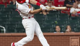St. Louis Cardinals' Paul Goldschmidt hits the game-winning home run during the  11th inning of the team's baseball game against the Miami Marlins, Wednesday, June 19, 2019, in St. Louis. The Cardinals won 2-1. (AP Photo/L.G. Patterson)