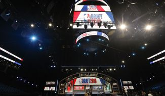 Preparations continue before the start of the NBA basketball draft, Thursday, June 20, 2019, at the Barclays Center in New York. (AP Photo/Frank Franklin II)