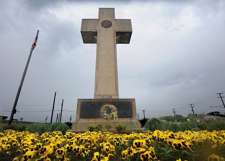 In this May 7, 2014, file photo, the World War I memorial cross is pictured in Bladensburg, Md. (Algerina Perna /The Baltimore Sun via AP, File)