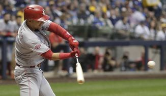 Cincinnati Reds' Jose Iglesias hits a two-run home run during the fifth inning of a baseball game against the Milwaukee Brewers Thursday, June 20, 2019, in Milwaukee. (AP Photo/Morry Gash)