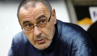 FILE - In this Thursday, May 2, 2019 file photo, Chelsea's coach Maurizio Sarri attends their Europa League, first leg semifinal soccer match against Eintracht Frankfurt in the Commerzbank Arena in Frankfurt, Germany. Maurizio Sarri has on Sunday, June 16 left Chelsea after one season to return to Italy to manage Juventus. The former Napoli coach has joined Serie A champion Juventus on a three-year contract to replace Massimiliano Allegri. (AP Photo/Michael Probst, file)