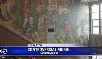 """San Francisco's Washington High School will send anywhere from $375,000 to $825,000 to mollify citizens who are upset over a George Washington mural. Some locals say the mural is """"racist."""" (Image: Fox 2, KTVU video screenshot)"""