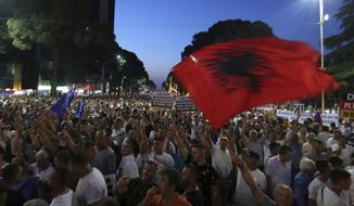 Antigovernment protesters take part in a rally in Tirana, Friday, June 21, 2019. The opposition is boycotting the local elections planned for June 30 and has threatened to disrupt them.(AP Photo/Hektor Pustina)
