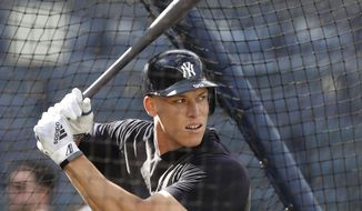 New York Yankees' Aaron Judge takes batting practice before a baseball game against the Houston Astros, Friday, June 21, 2019, in New York. (AP Photo/Kathy Willens)